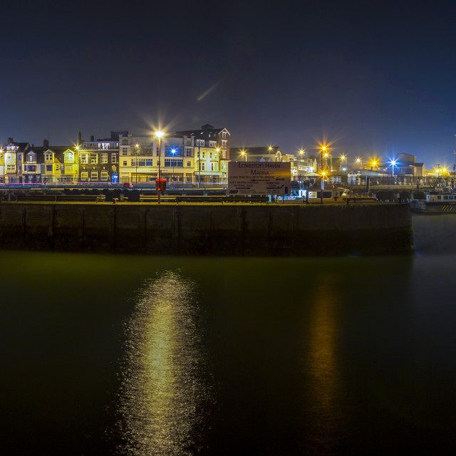 """Night Panorama at Haven Marina"" stock image"