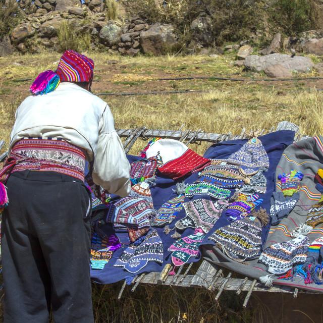 """Peruvian man making display for tourists"" stock image"