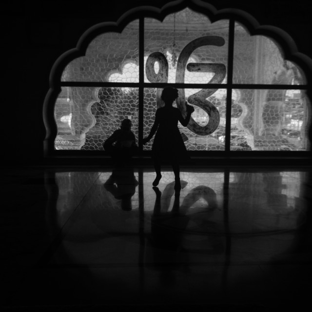 """Silhouette at a Sikh Temple"" stock image"