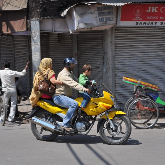 """Indian family on a motobike"" stock image"