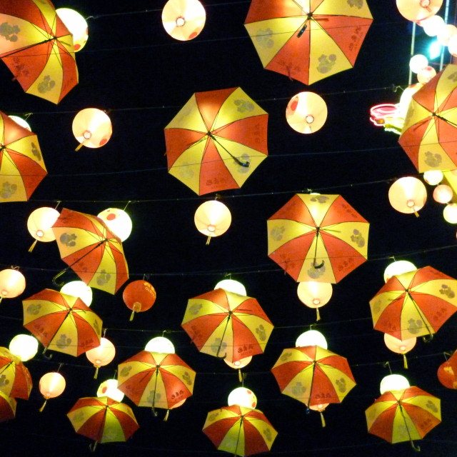 """""""Umbrellas hanging above Chinatown in KL"""" stock image"""