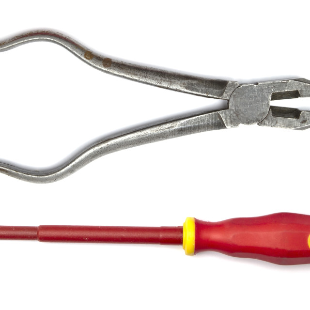 """Pliers and screwdriver"" stock image"