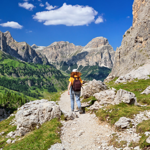 """Dolomiti - hiking in Badia Valley"" stock image"