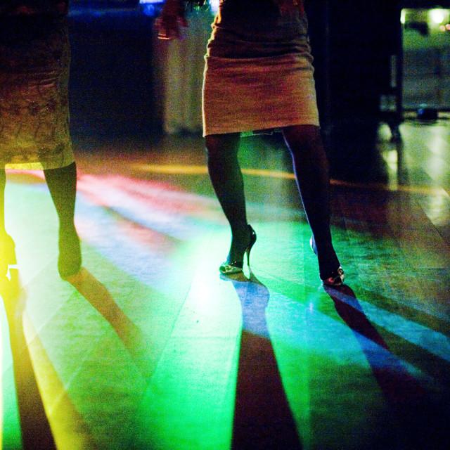 """""""Women dancing dance floor wedding disco party"""" stock image"""