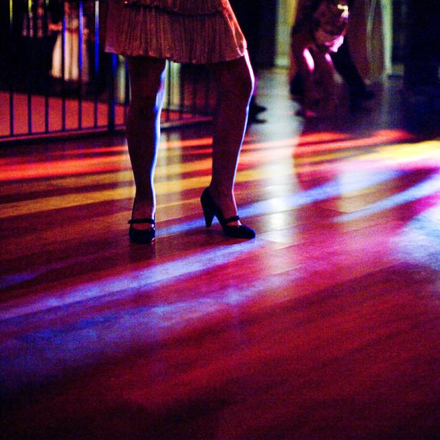 """""""Woman dancing on dancefloor wedding disco party"""" stock image"""