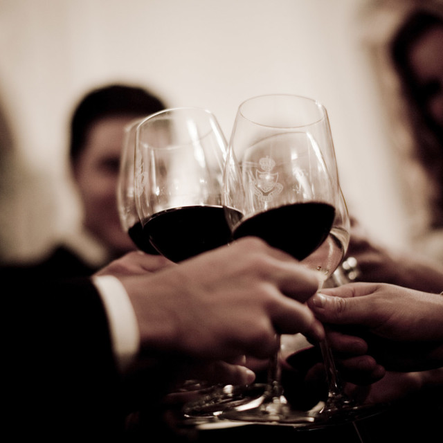 """""""Wedding guests marriage reception party red wine glasses cheers"""" stock image"""