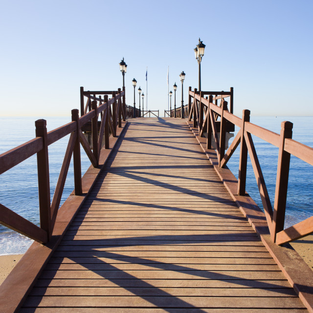 """Pier on Costa del Sol in Marbella"" stock image"