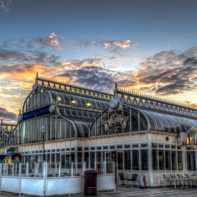 """East Point Pavilion at Dusk"" stock image"