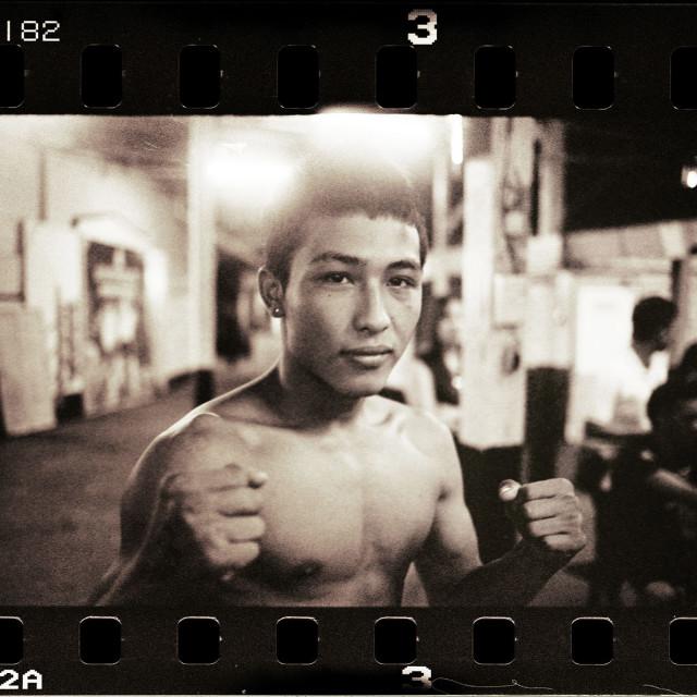 """Thai boxer boxing Thailand portrait Bangkok in Lumpini Stadium"" stock image"