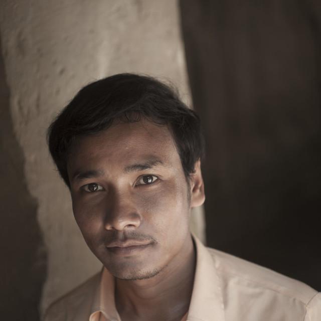 """Portrait Cambodian tour guide Siam Reap Cambodia"" stock image"