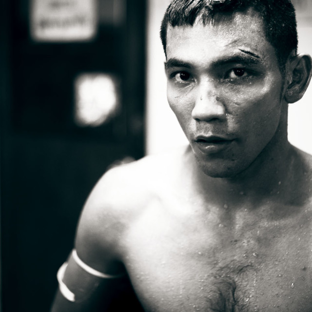 """Thai boxer boxing Thailand portrait Bangkok Lumpini Stadium"" stock image"