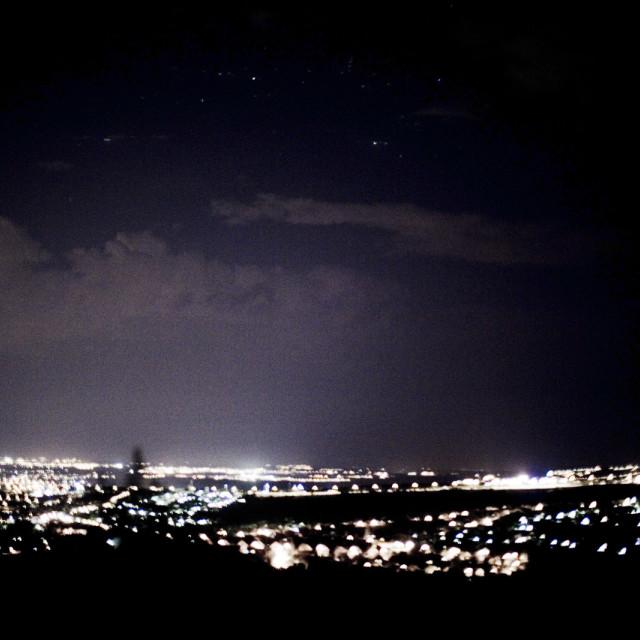 """Madrid Spain landscape city sky night stock image"" stock image"