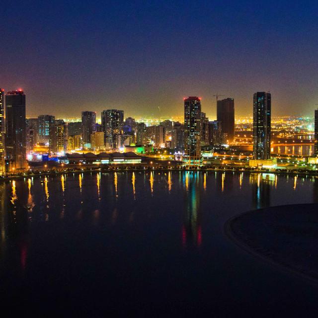 """""""Sharja coastline at night"""" stock image"""