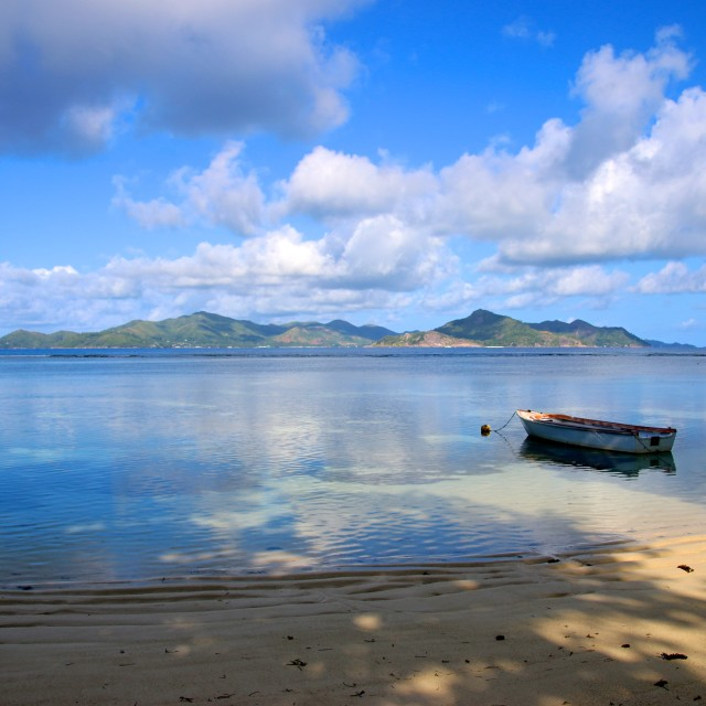 """""""Praslin in the distance.."""" stock image"""