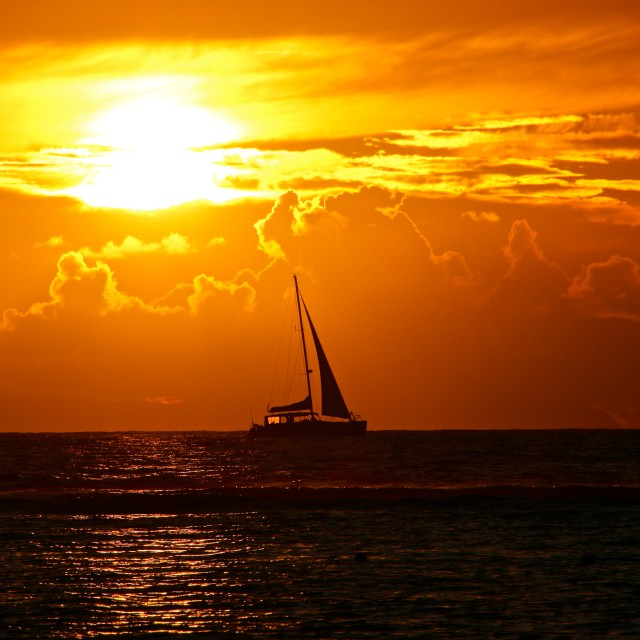 """""""Boat Crossing at Sunset..."""" stock image"""