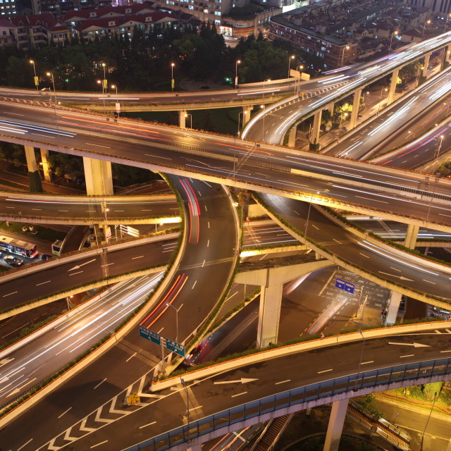 """Aerial View Busy Intersection Cars Traffic Jam Highway Night"" stock image"