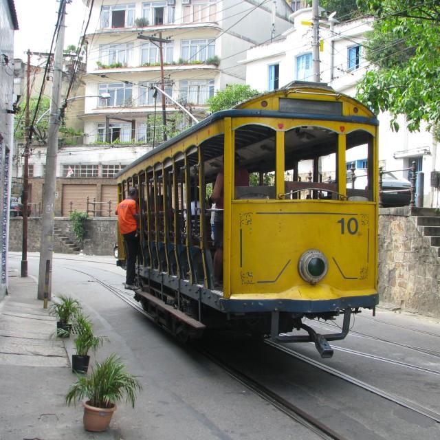 """""""Tram in Santa Teresa"""" stock image"""