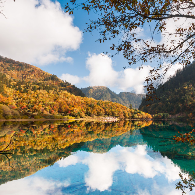"""Colourful Lake, Jiuzhaigou"" stock image"