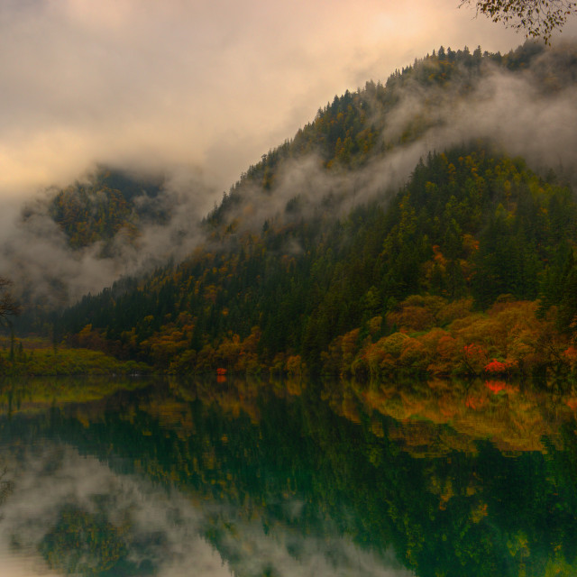 """Misty Jiuzhaigou Lake"" stock image"