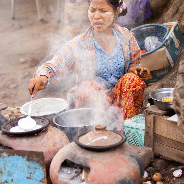 """Street Kitchen in Mingun, Mandalay, Myanmar (Burma)"" stock image"