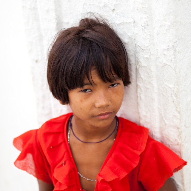 """A little girl in a temple in Mingun, Myanmar (Burma)"" stock image"