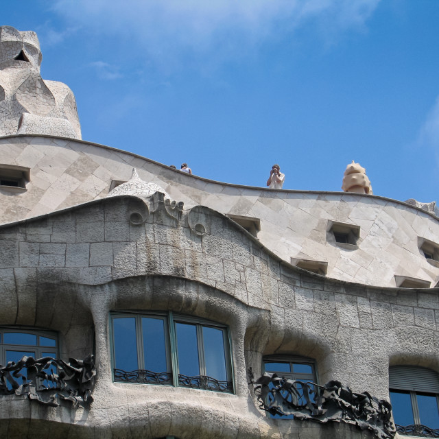 """Unique exterior of 'La Pedrera' building in Barcelona, Spain"" stock image"