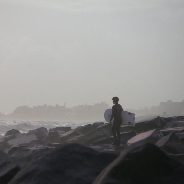"""Body boarder on Shoreham beach"" stock image"