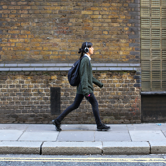 """Female walking London streets"" stock image"