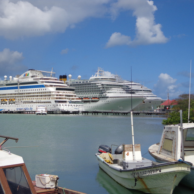 """""""Cruise ships in port"""" stock image"""