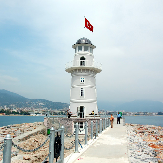 """""""Turkish lighthouse at Alanya Harbour"""" stock image"""