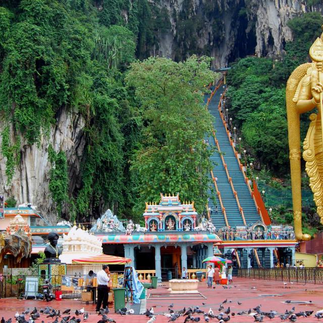 """Golden statue at Batu caves"" stock image"
