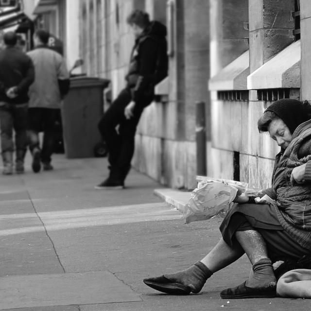 """""""Paris - homeless lady"""" stock image"""