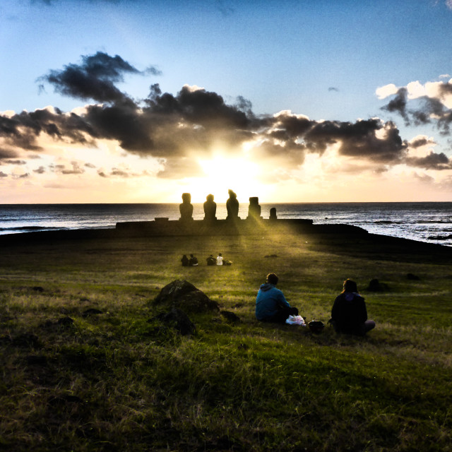 """Ahu Vai Ure Sunset Easter Island"" stock image"