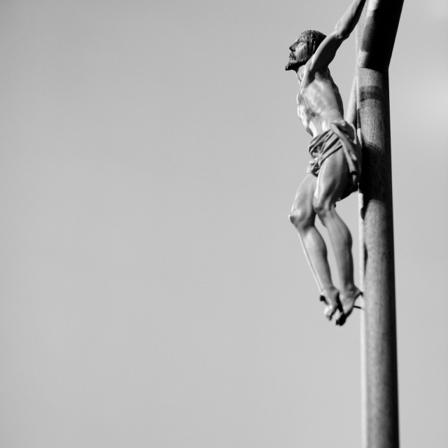 """""""Catholic church cathedral temple crucifix Jesus son of the Christian god on crucifix"""" stock image"""