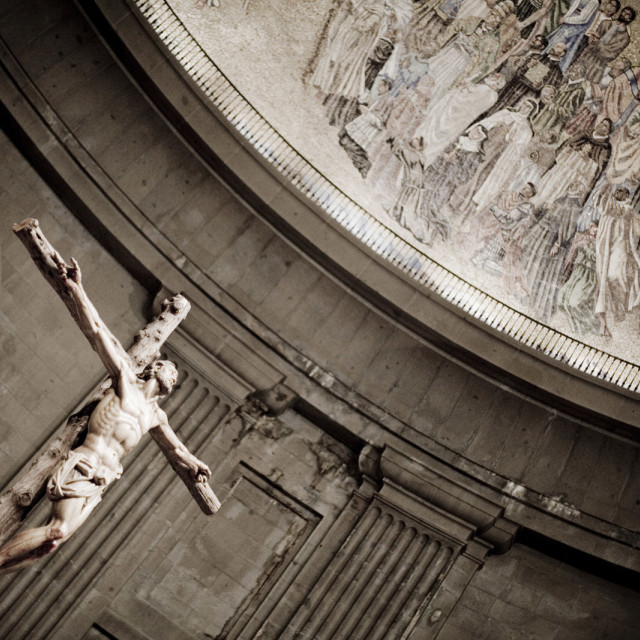 """""""Catholic church cathedral temple dome roof crucifix Jesus son of the Christian god on crucifix"""" stock image"""