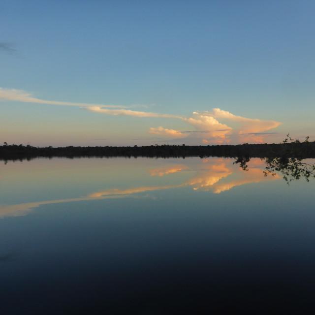 """Dusk Rio Urubu River"" stock image"