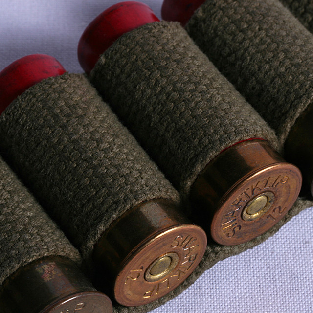 """A bandolier of shotgun shells"" stock image"