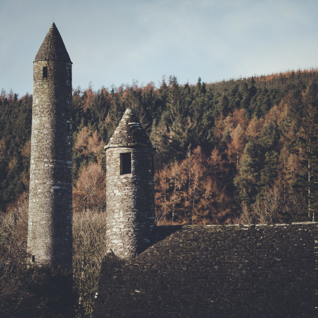 """Glendalough Roundtower"" stock image"