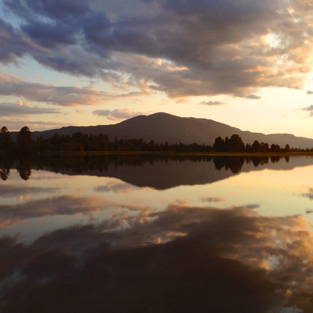 """Summer evening at mountain lake"" stock image"