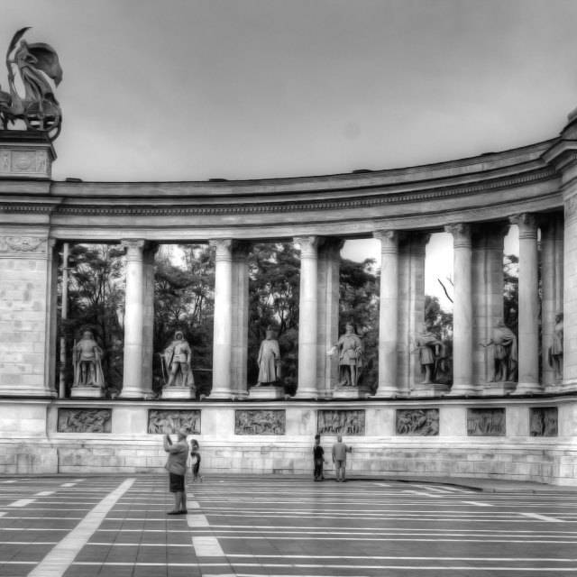 """Budapest memorial in black and white"" stock image"