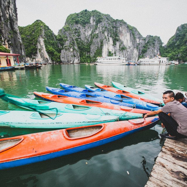 """Halong Bay Boats"" stock image"