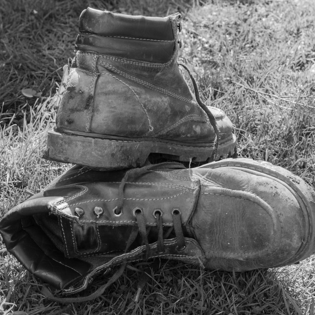 """My old boots Black & White"" stock image"