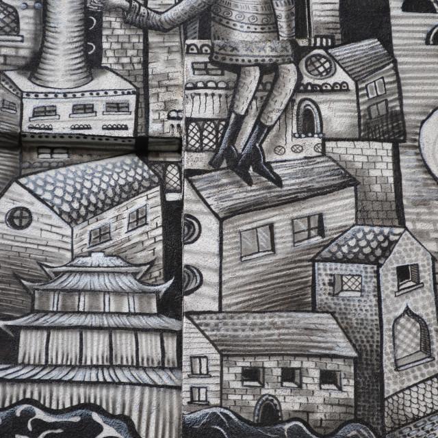 """street art sheffield by Phlegm"" stock image"