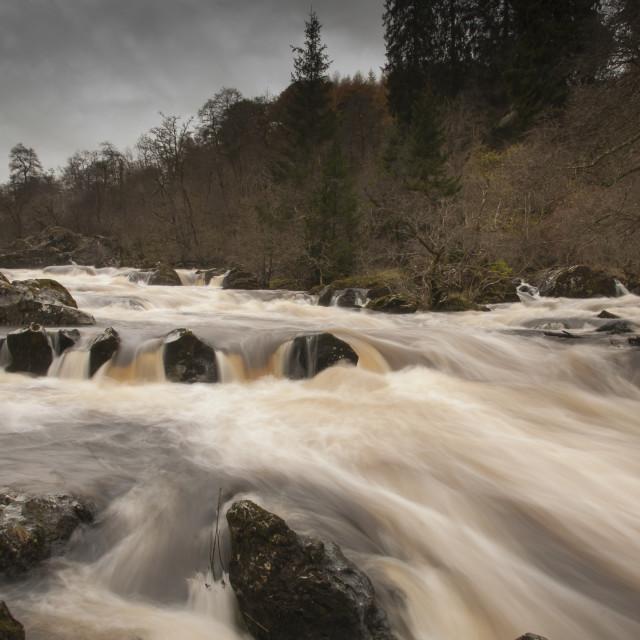 """""""River at Rumbling Bridge"""" stock image"""