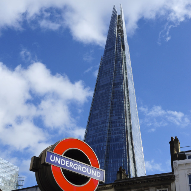 """Underground sign and the Shard"" stock image"