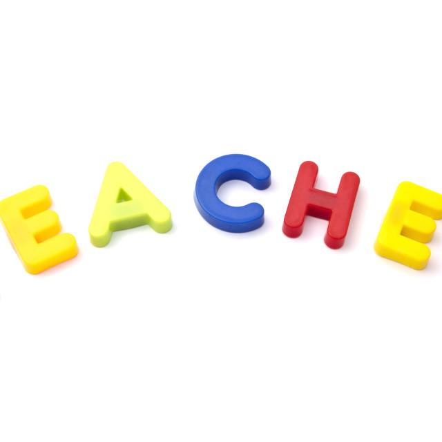 """""""Letter magnets """" teacher"""""""" stock image"""