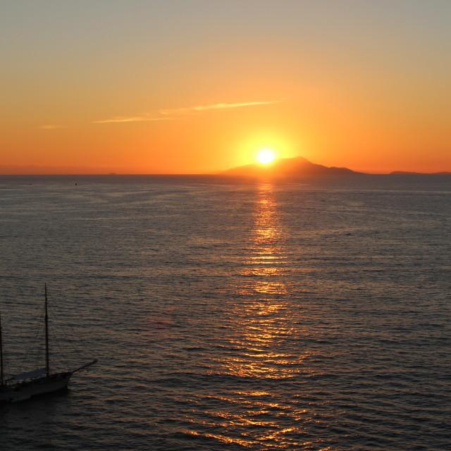 """""""Sorrento Sunset Sailing"""" stock image"""