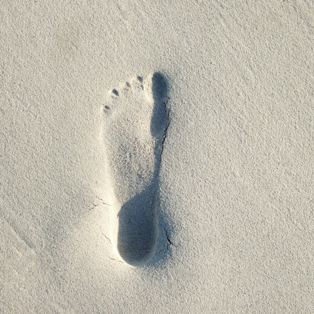 """Footprint in sand"" stock image"