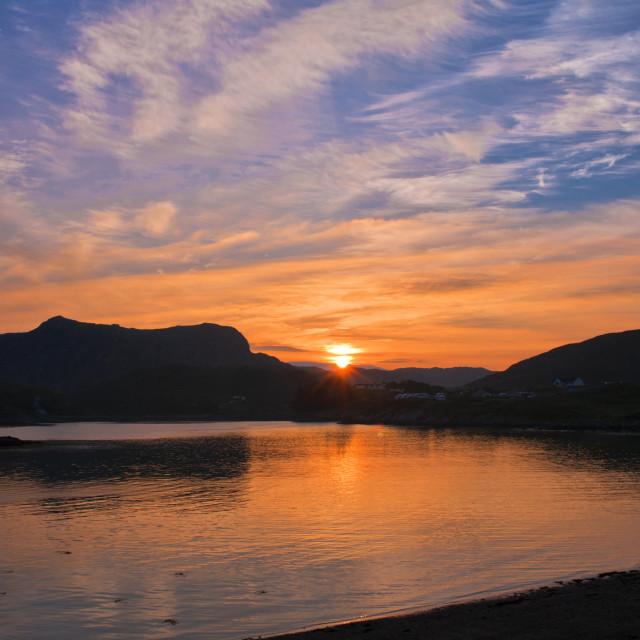"""Sunrise, Scourie Bay"" stock image"