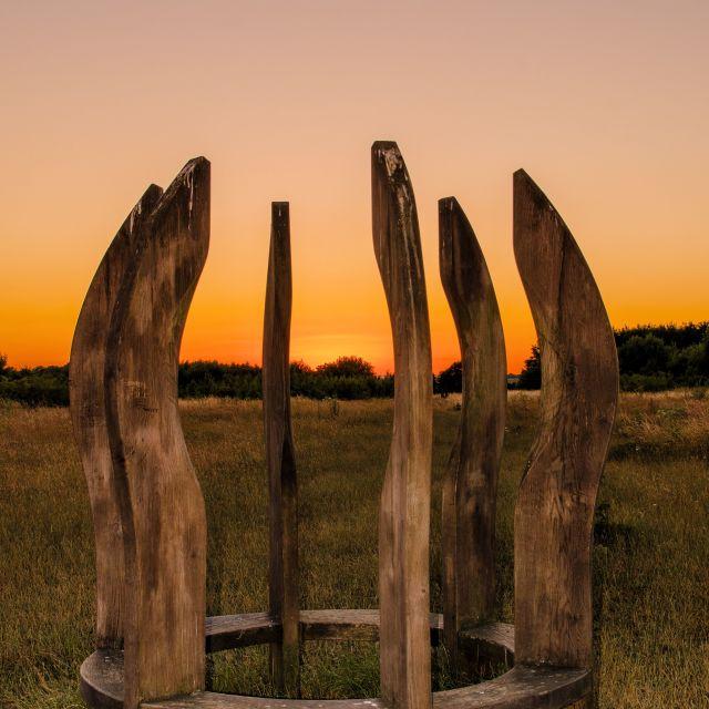 """""""Community woodland bench"""" stock image"""